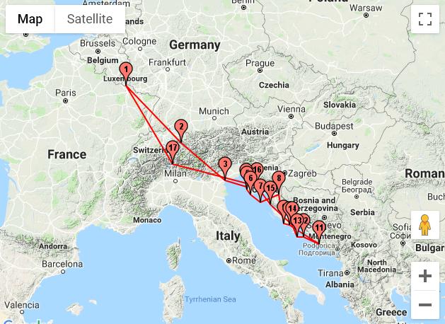 Itinéraire en Croatie