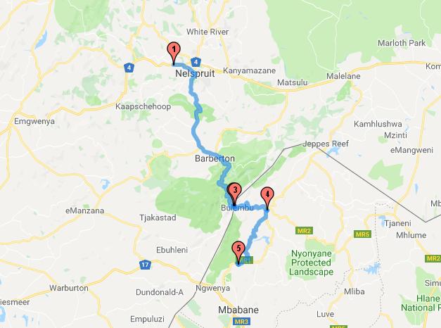 Nelspruit - Jozefsdal - Bulembu - Piggs Peak - Malolotja Reserve